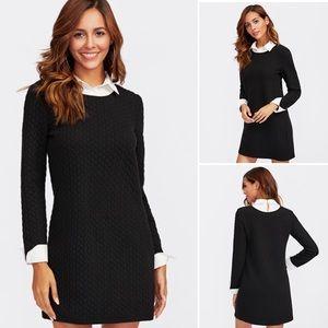 SHEIN Black Textured 2 in 1 Collared Dress (XS)